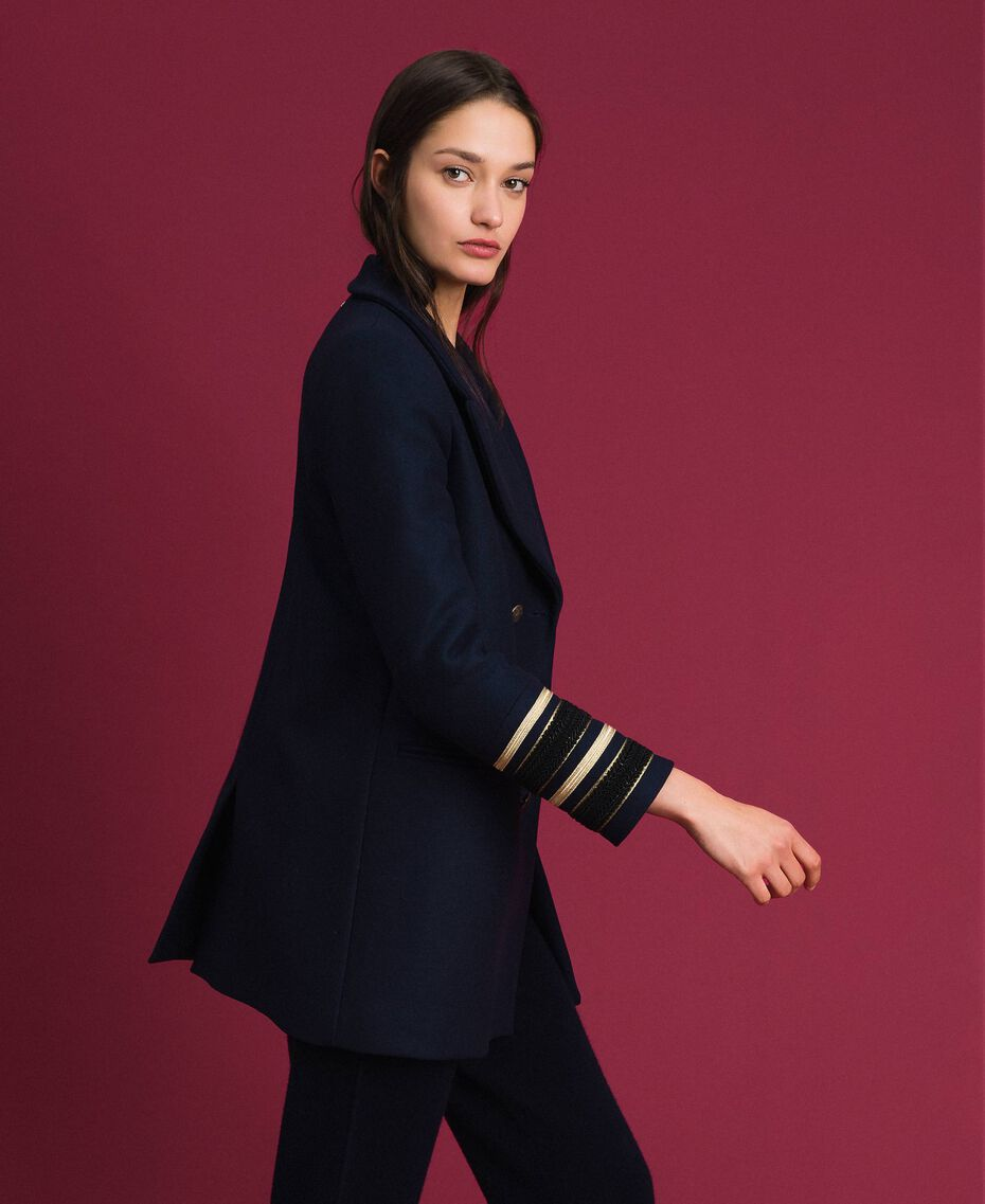 Manteau croisé en drap Midnight Bleu Femme 192TT2161-02