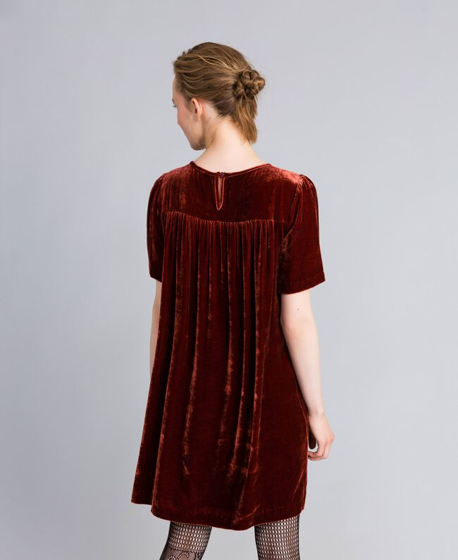 Vestido tipo túnica de terciopelo Bordeaux Mujer PA823B-03