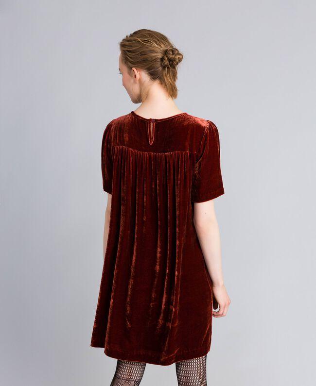 Tunikakleid aus Samt Bordeaux Frau PA823B-03