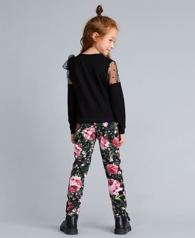Pantalon en piqué imprimé Imprimé Roses / Noir Enfant GA82RU-03