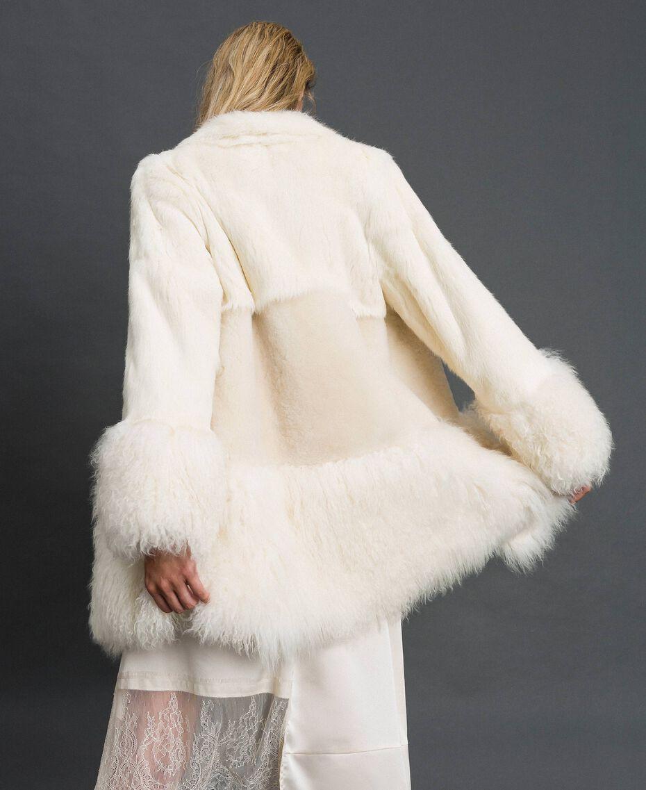 Mixed fur coat White Snow Woman 192TT2390-03