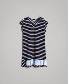 Robe rayée avec volant contrasté Rayures Ombre Bleue / Blanc Cassé Femme 191ST2033-0S