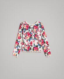 Pullover-Cardigan mit Blumenmuster Motiv Tuch Weiße Blumen Frau 191MP3131-0S