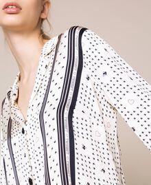 "Satin pyjamas with logo print Two-tone ""Peachskin"" Pink / Black Woman 201LL28AA-04"
