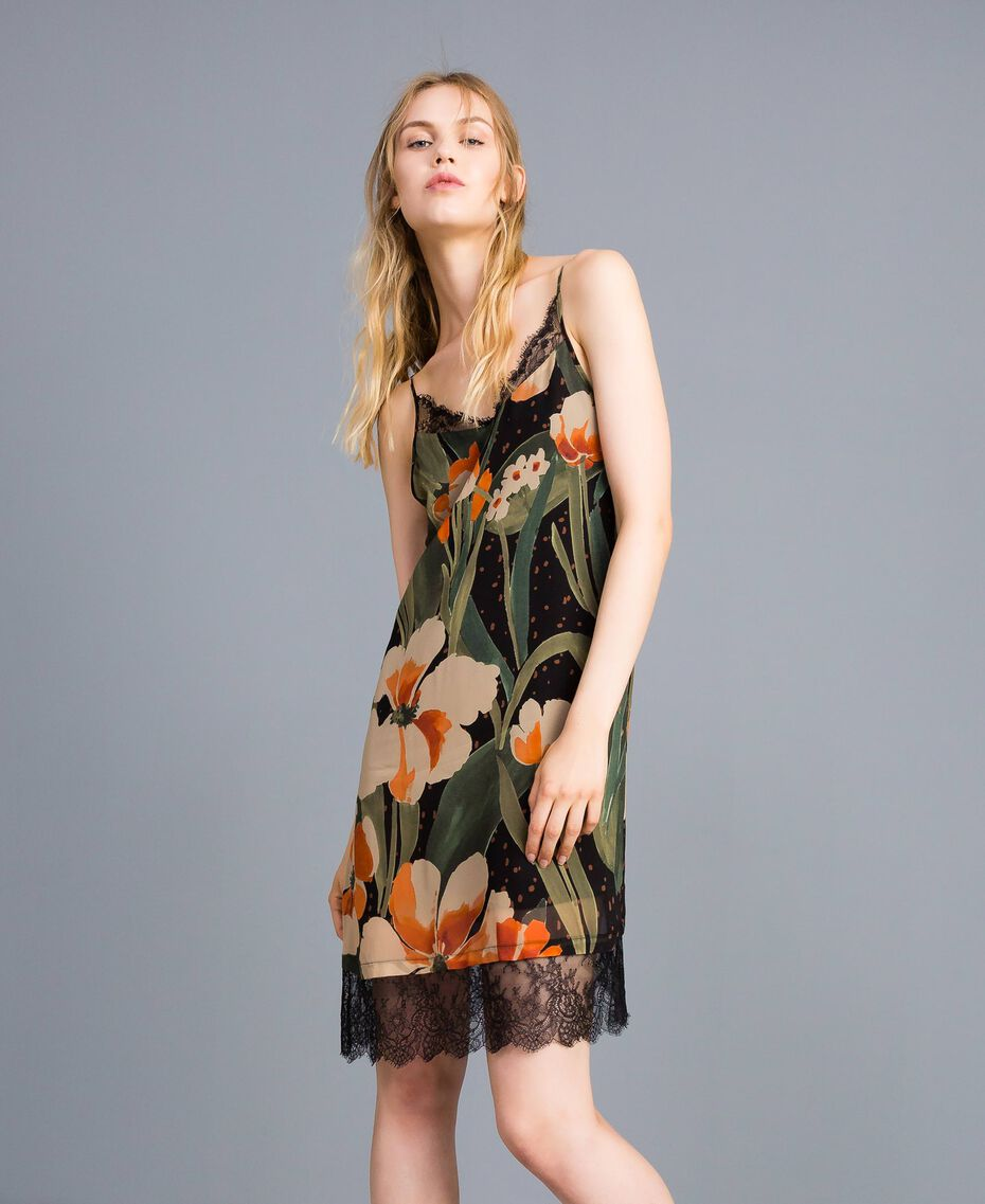 Printed georgette slip dress Maxi Black Tulip Print Woman TA828V-02
