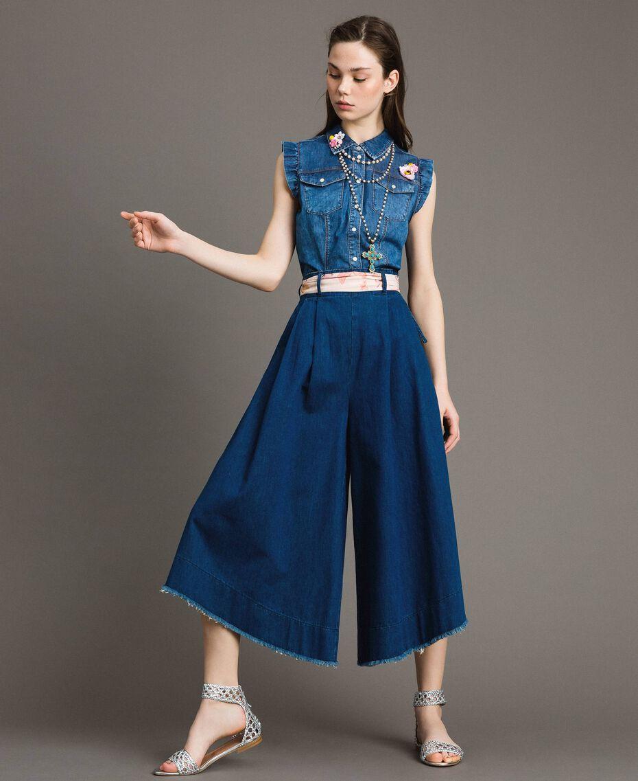 Jean à coupe large et taille haute Bleu Denim Femme 191MT2422-01