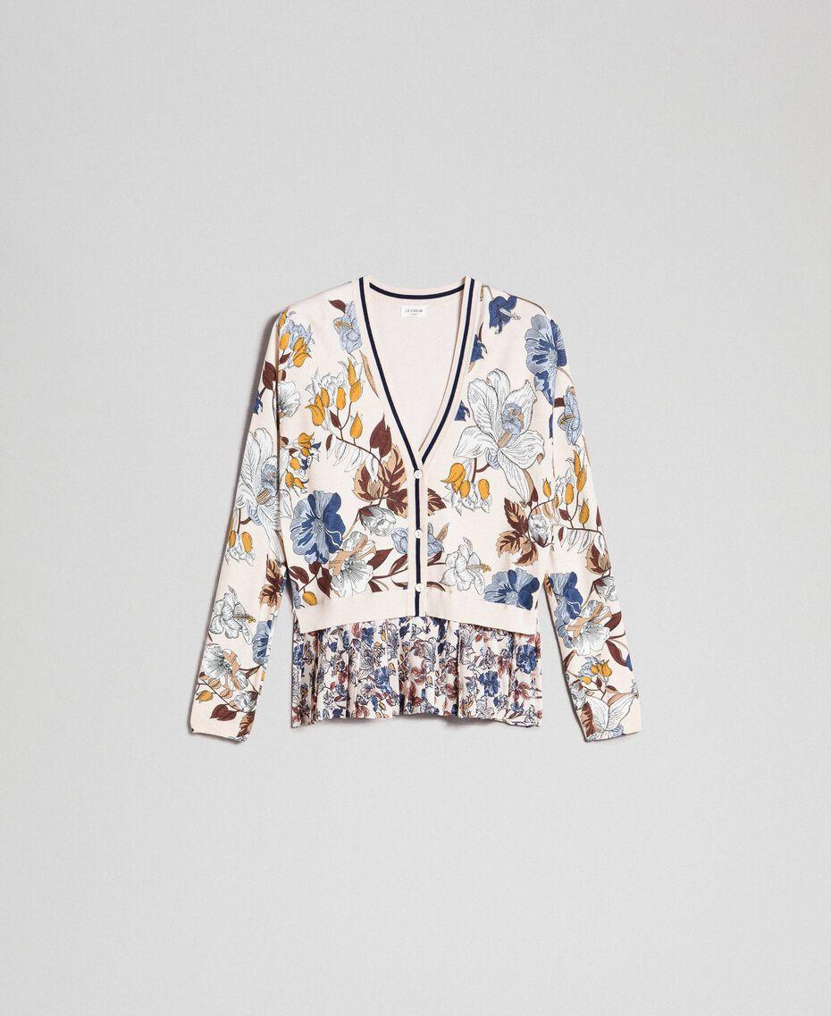 Cardigan avec imprimé floral et chevrons Imprimé Fleurs d'Automne Crème Femme 192ST3221-0S