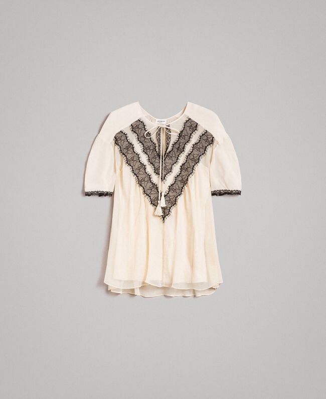 Crepon blouse with lace Ecrù Woman 191ST2201-0S