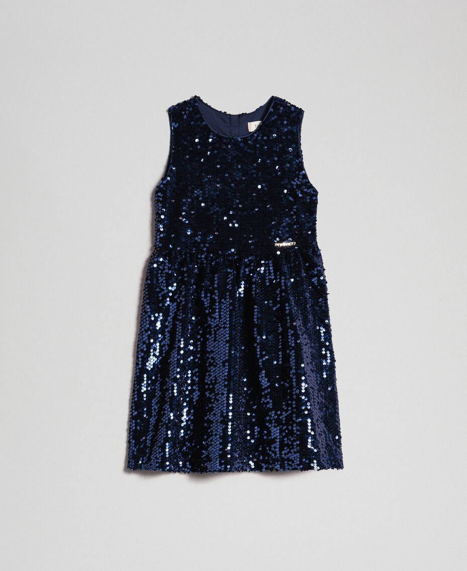 Velvet dress with sequins Blue Night Child 192GB2090-01