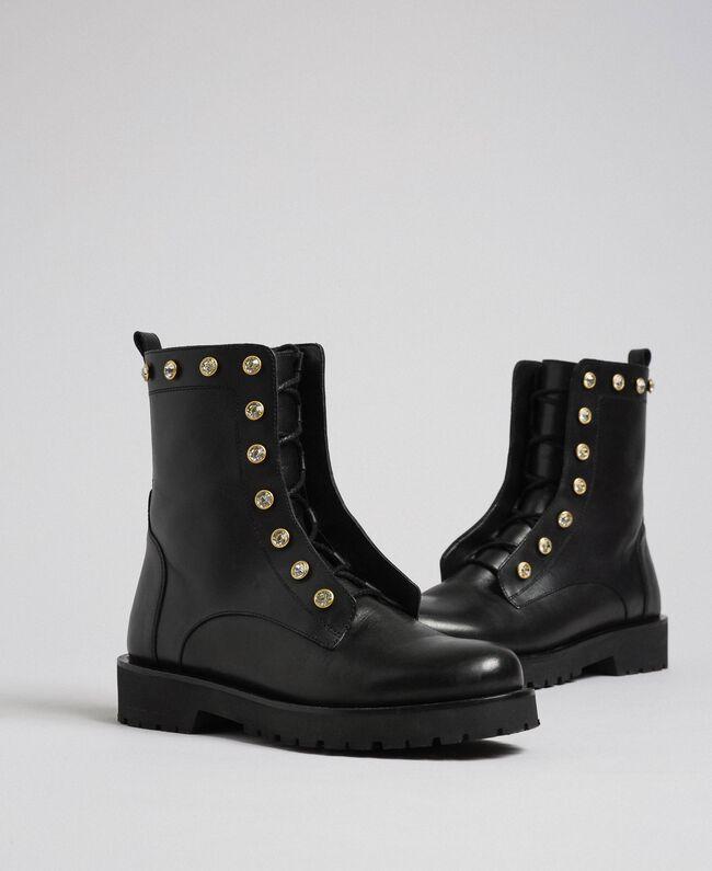 Кожаные ботинки-амфибии с шатонами Черный женщина 192TCP01N-01