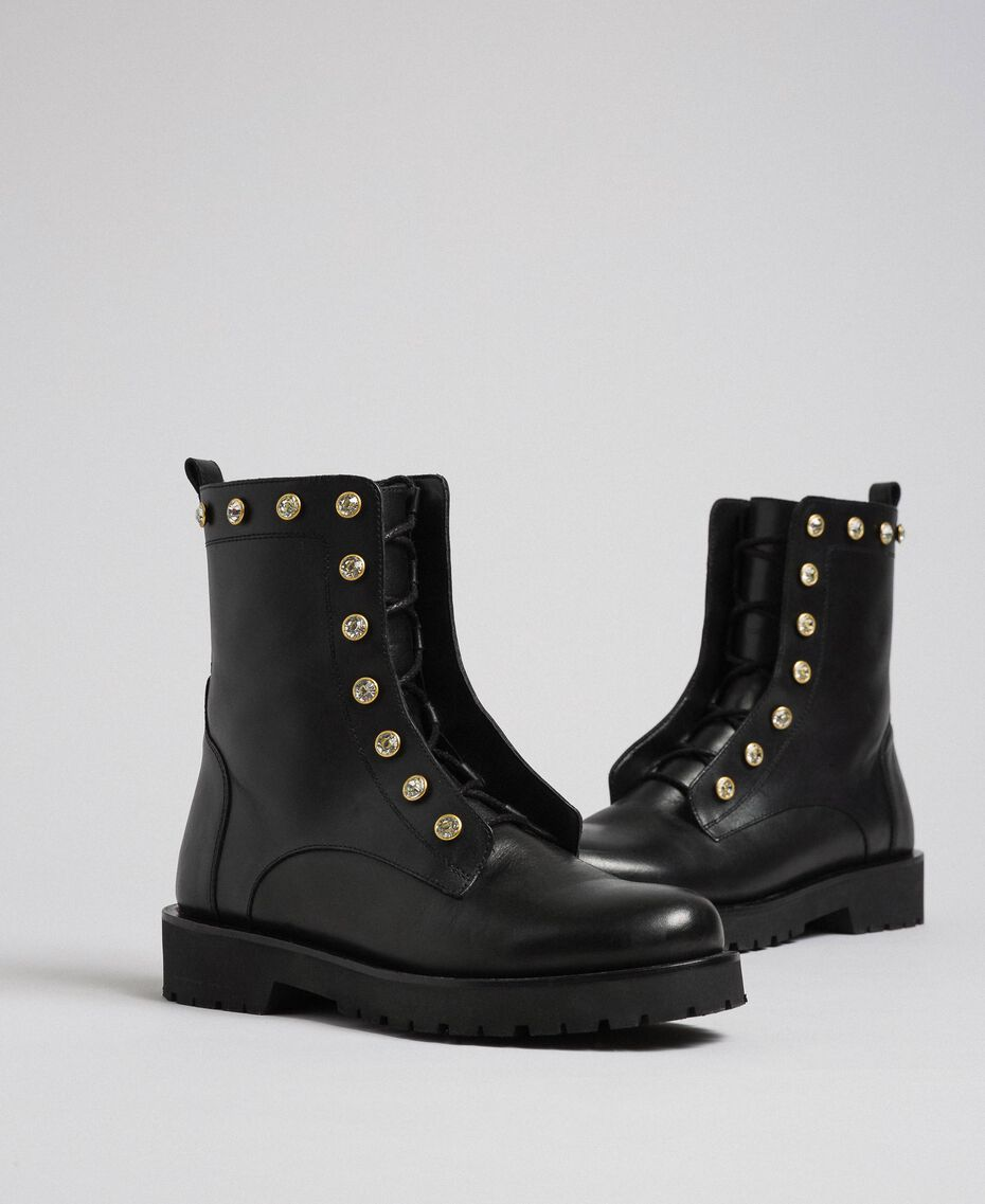 Leather combat boots with stones Black Woman 192TCP01N-01
