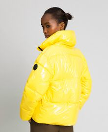 Patent leather effect short puffer jacket Yellow Woman 192MT2070-04