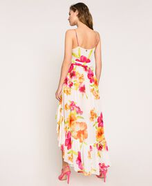 Vestido asimétrico de georgette de flores Estampado Hibiscus Nieve Mujer 201TT2493-04
