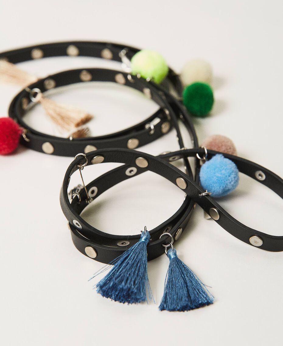 Cinturón con tachuelas y pendientes Negro Mujer 211TO5069-02