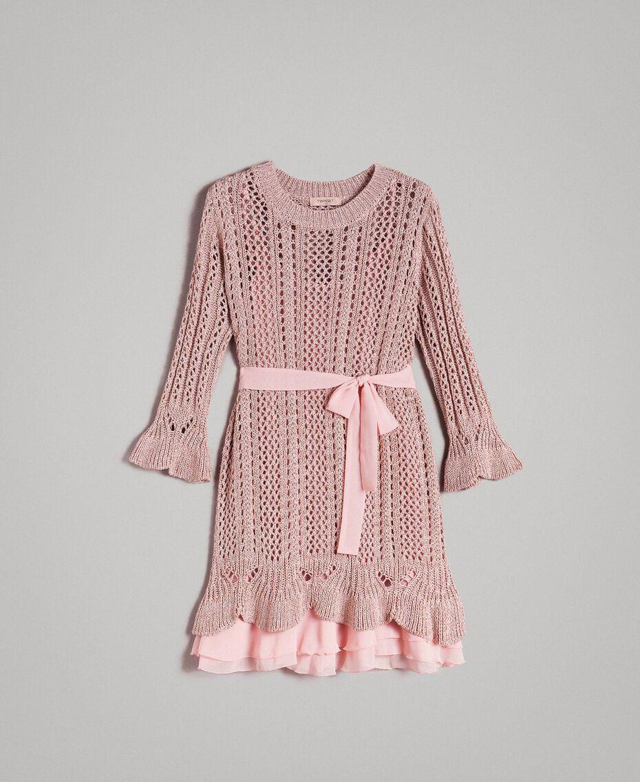 Lurex-Strick-Kleid Pearl Pink Lurex Frau 191TP3350-0S