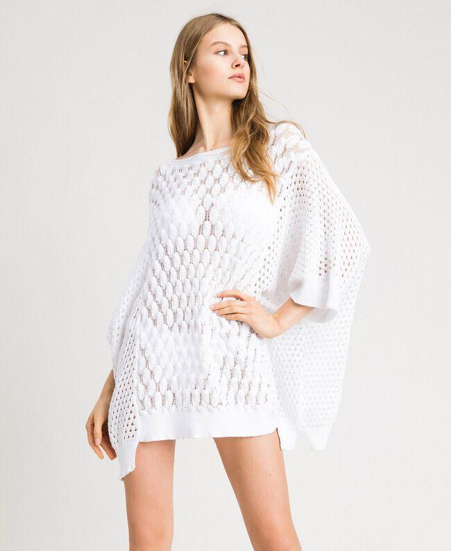 Poncho in maglia traforato Bianco Donna 191LB3GBB-01