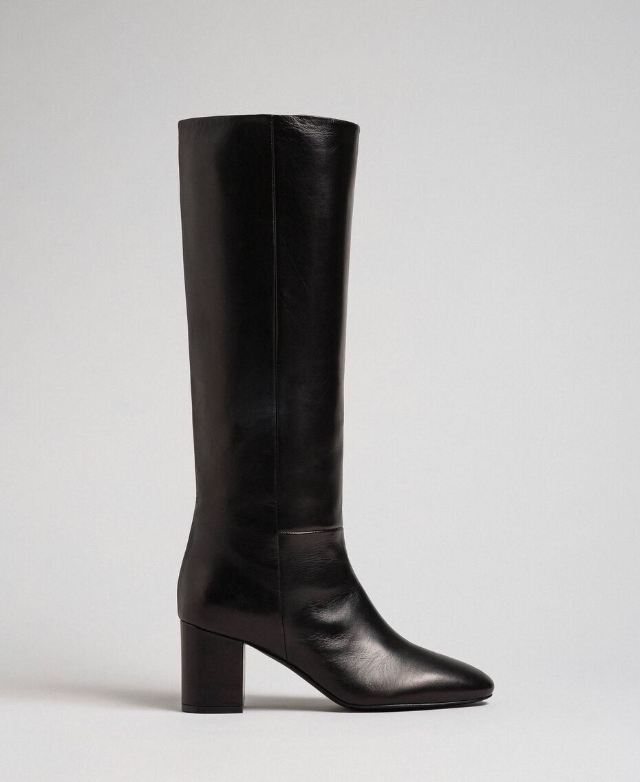 Hoher Stiefel aus Leder Leder Frau 192TCP100-02