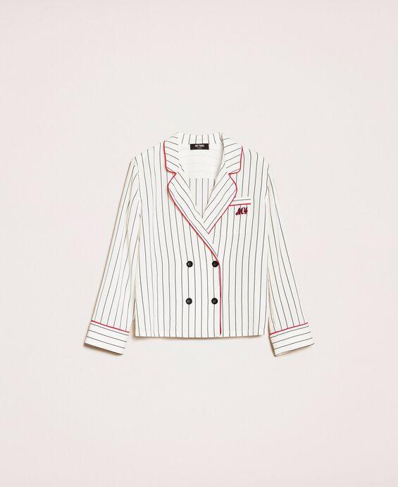 Camicia in crêpe de Chine a righe