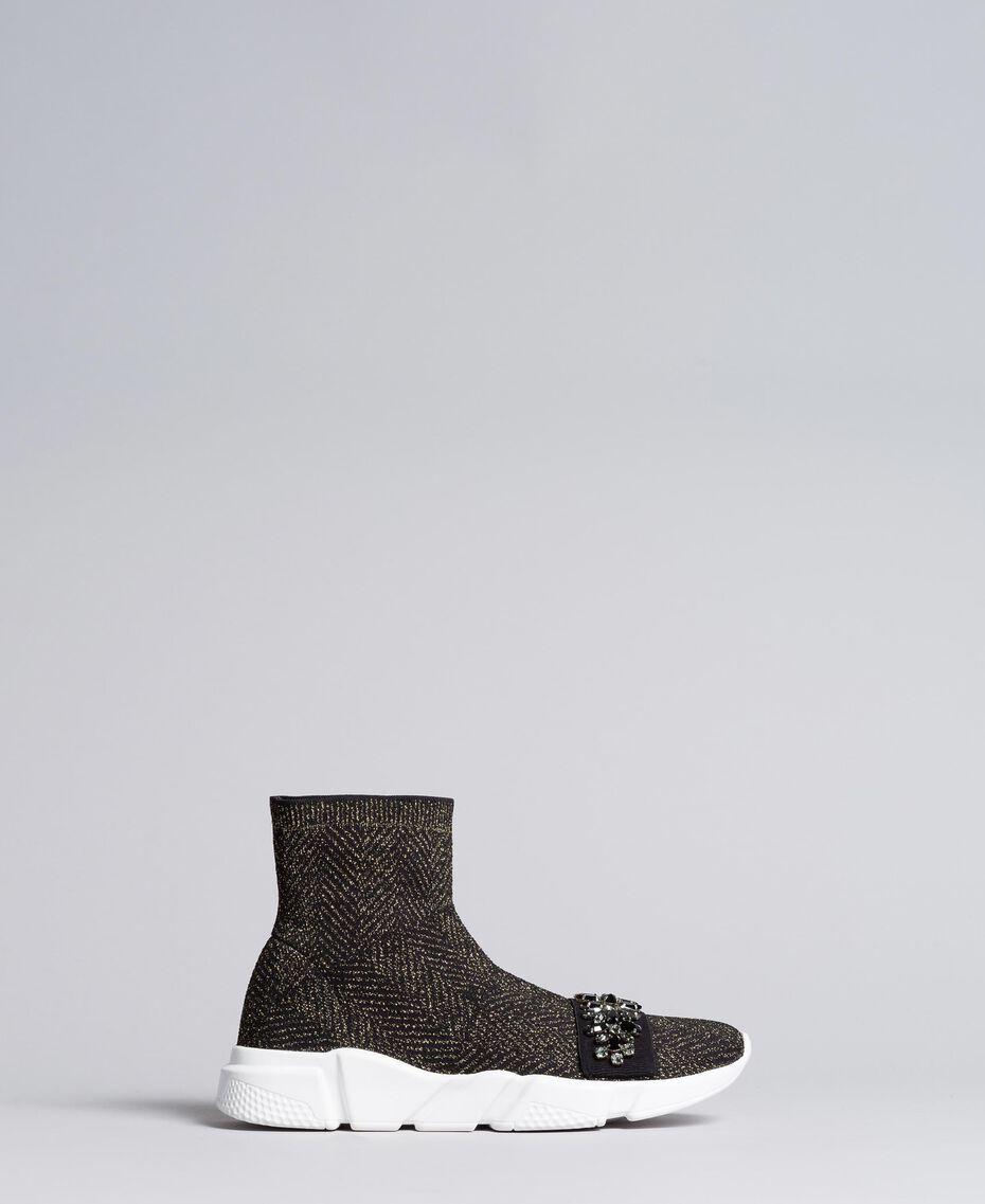 Sneakers in tessuto stretch con castoni Nero Donna CA8TNC-02