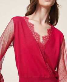 """Tulle and lace jumper """"Cerise"""" Fuchsia Woman 202TP3381-04"""
