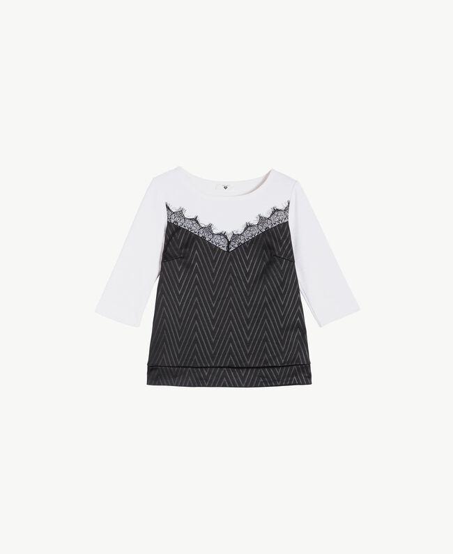Laminated print sweatshirt Black / Ivory IA7SDD-01