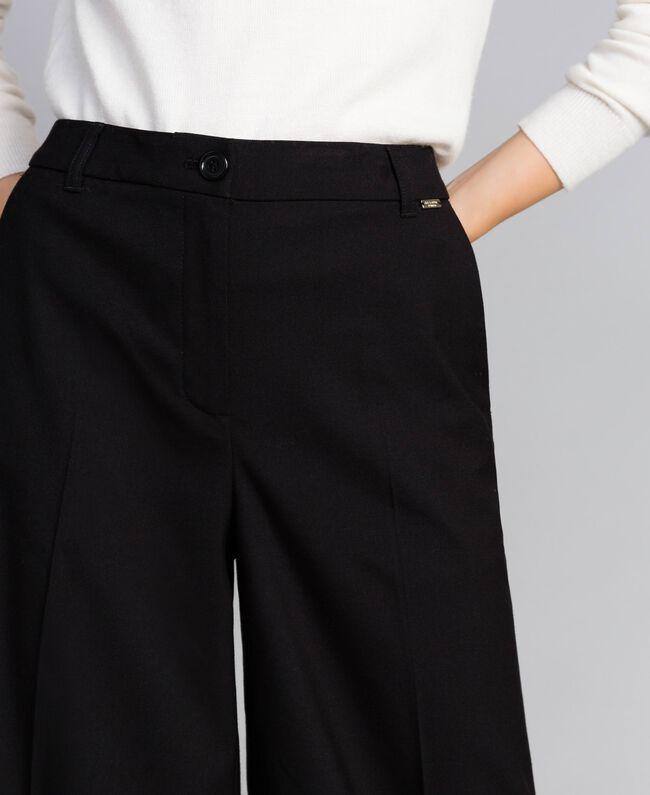 Twill palazzo trousers Black Woman SA82KE-04