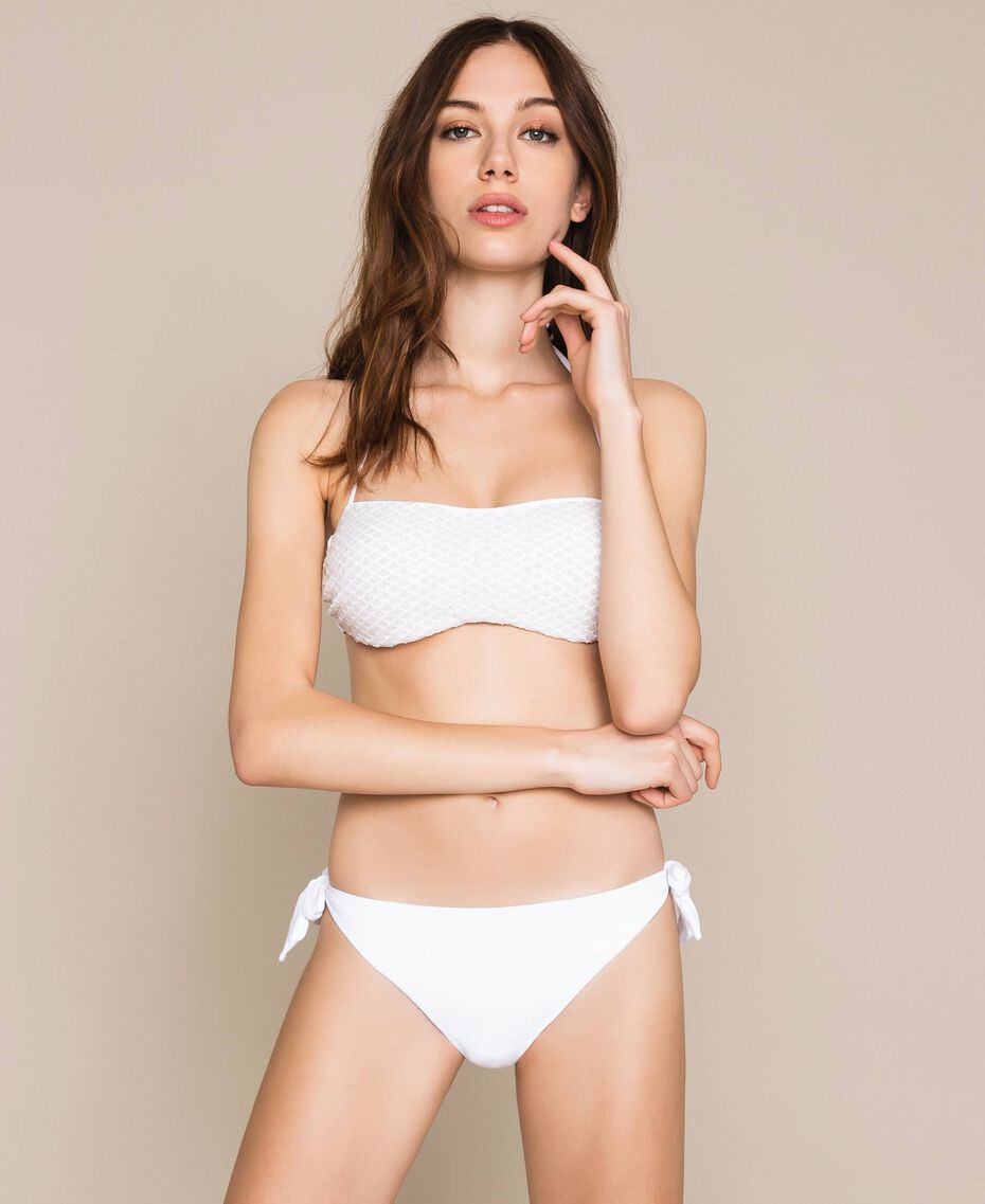 Tanga de bain noué avec logo Blanc Femme 201LMMN88-02