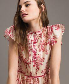 Kleid aus Seidenmischung mit Blumenprint Motiv Toile De Jouy Rot Frau 191TT2404-05