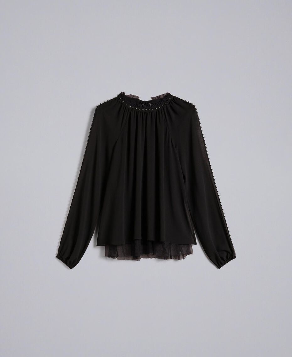 Ruched blouse with pearls Black Woman JA82MB-0S