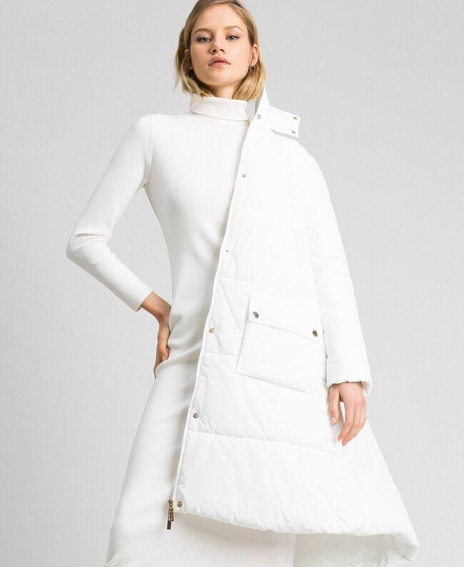 Long puffer jacket with high neck Ivory Woman 192LI2JAA-04
