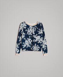 Lurex-Pullover-Cardigan mit Blumenmuster Motiv Blumen Deep Lake Frau 191ST3121-0S