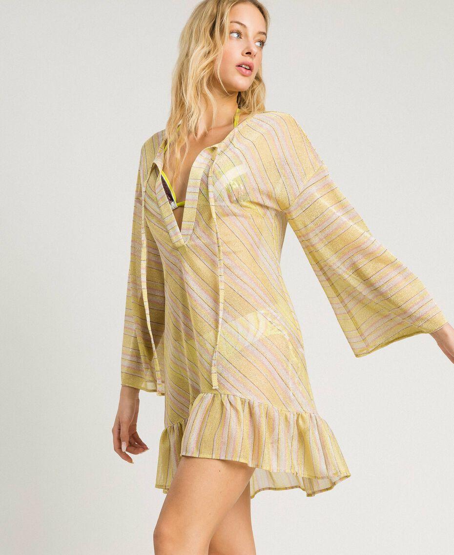 """Striped lurex caftan """"Bronze"""" Brown / """"Lemon Juice"""" Yellow Multicolour Striping Woman 191LB2AJJ-02"""