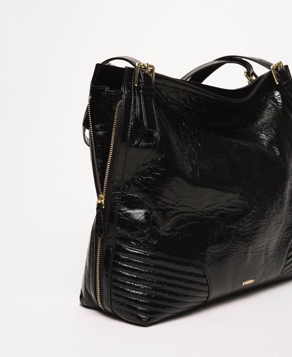 Rebel Hobo-Bag aus Glanzleder Schwarz Frau 201TO823V-02