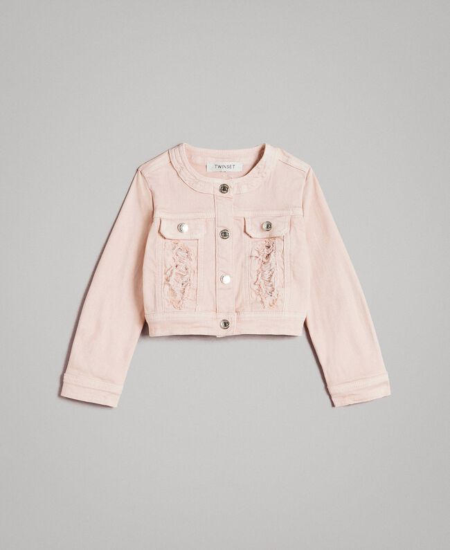 Stretch bull jacket with lace Blossom Pink Child 191GB2062-01