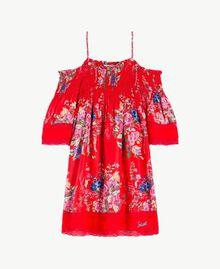 Kleid mit Blumenprint Blumenprint / Granatapfelrot Kind GS82E1-01