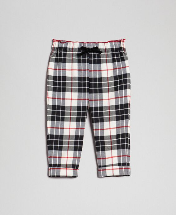 Wool blend chequered trousers