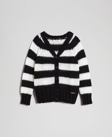 Two-tone striped mohair cardigan Ruby Wine Striped Jacquard / Red Child 192GJ3221-0S