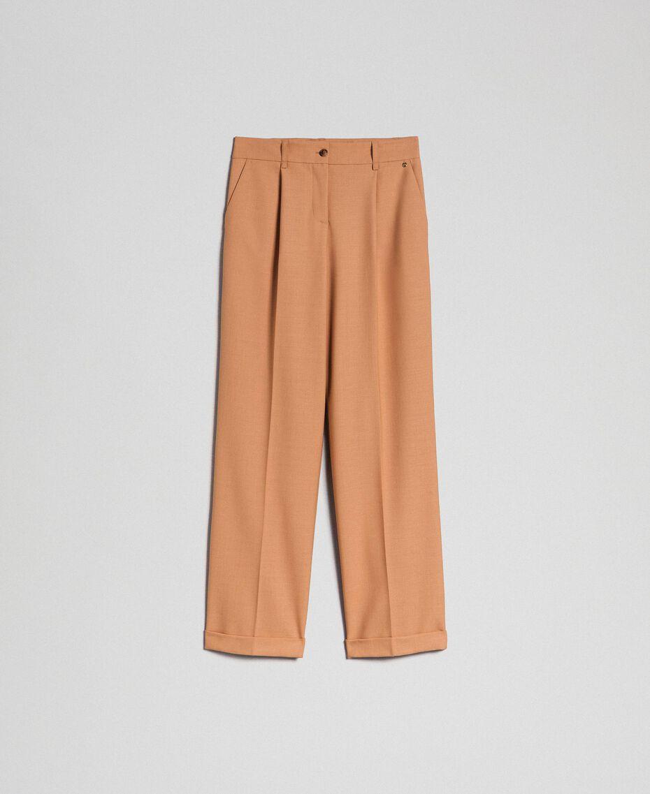 Pantalón de lana técnica Camel Mujer 192TT2452-0S