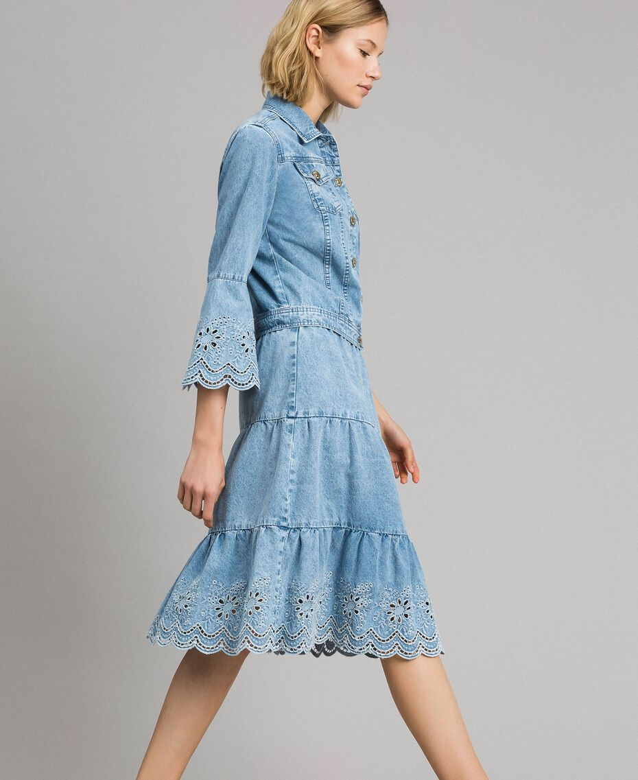 Mid-length skirt with broderie anglaise and flounces Denim Blue Woman 191MP2011-02