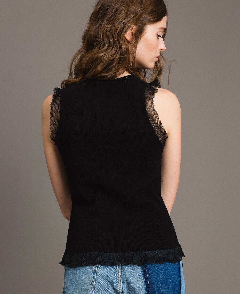 Ribbed top with ruffle Black Woman 191TT3043-03