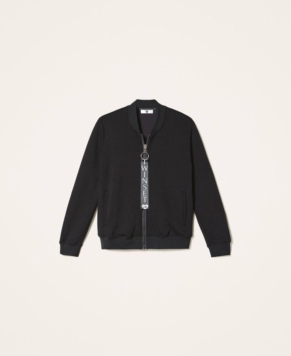 Scuba bomber jacket with logo Black Woman 202LI2JVV-0S