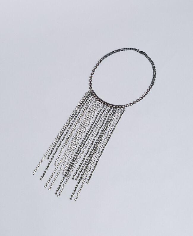Collier à franges en strass Bicolore Cristal / Noir Diamant Femme QA8TK1-01