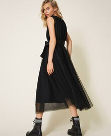 Tulle dress with satin belt Black Woman 202MP201C-01