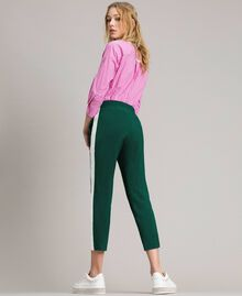 "Georgette trousers Two-tone ""Evergreen"" Green / Silk White Woman 191TP2328-03"