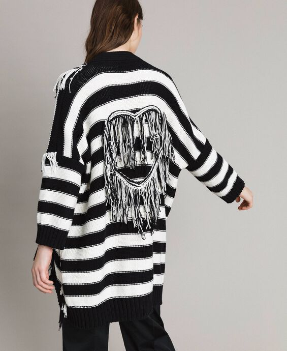 Oversized jacquard striped cardigan