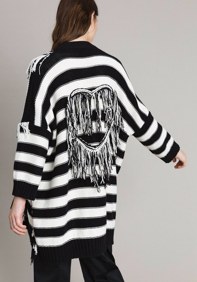 Oversized jacquard striped cardigan