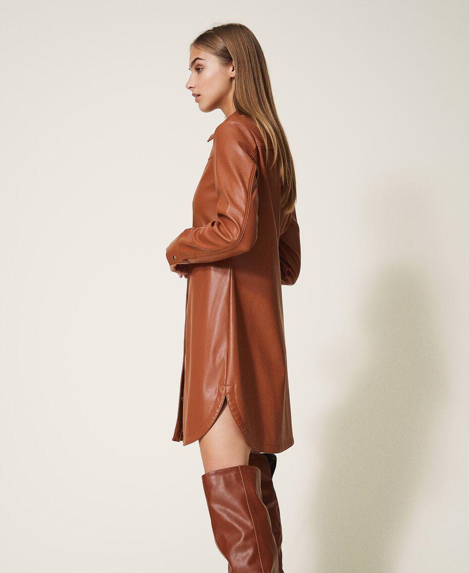 Faux leather shirt dress Black Woman 202LI2GEE-02