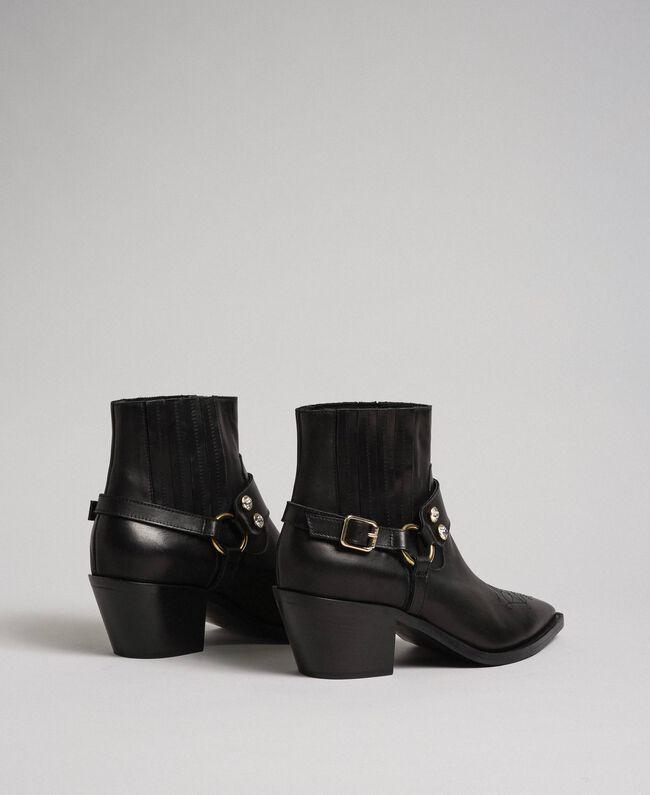 Boots à talons en cuir Noir Femme 192TCP10G-04
