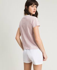 "Short gingham print pajamas ""Pink Bouquet"" Woman 191LL2ECC-03"