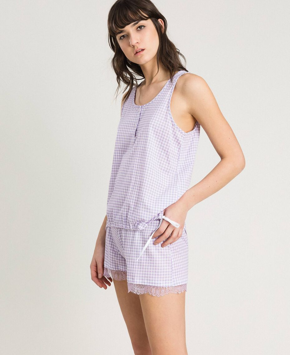 Short gingham print pajamas Lilac Woman 191LL2EDD-02